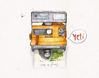 Yeti / / 5 pieces, postcards, Polaroid, camera, travel, illustration
