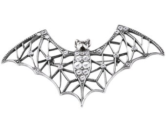 Sterling Silver Bat Brooch with Crystals