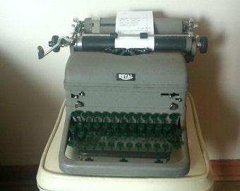 Royal Typewriter, Heavy Cast Metal Desk Model with Green Keys