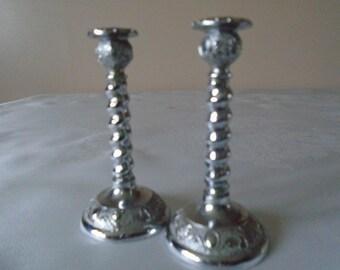 miniature chrome barley twist candlesticks