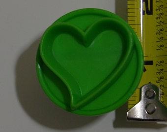 "HEART COOKIE STAMP   1.75"" Green Valentine's Day"