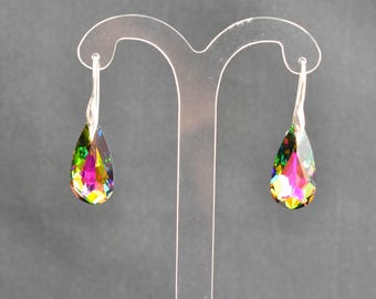 Earrings silver 925 and teardrop mm crystal of Swarovski crystal stained glass medium