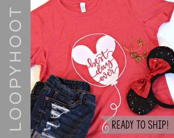 Best Day Ever Balloon T-shirt in Heather Red - Disney World, Disneyland, Disney Parks, Mouse - READY TO SHIP!