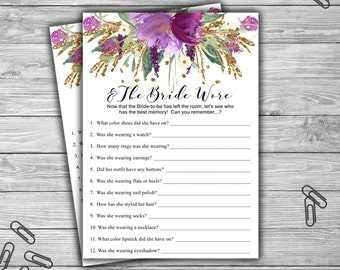 Floral - Bridal Shower - And The Bride Wore - Game - Cards - Printable - Instant Download - Purple and Gold - Bridal Shower - Flower - 032