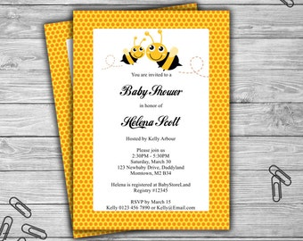Bumble Bee - Baby Shower - Custom - Invitation - Printable -  Baby Bee - 070