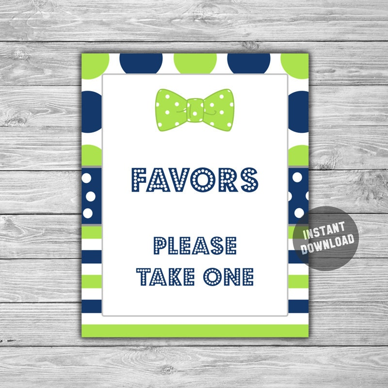 Bow Tie Baby Shower Favors Sign Printable Instant Download