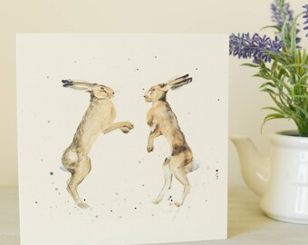 Boxing Hares Card