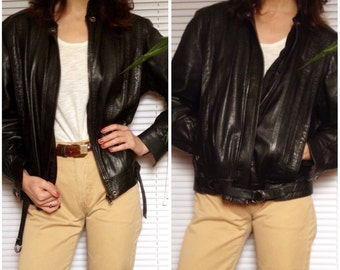 Black leather jacket vintage 80 s 80s pleated (M/L - 40)