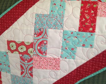 Simply Helixed Design Table Runner in Red, White and Teal