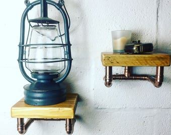 scaffold board and copper pipe shelf