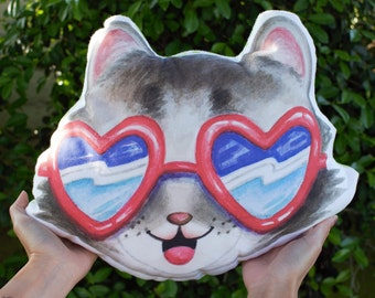 Poppy the Pillow/ Retro Kitty Cat Sunglasses Pillow/ Adorable Stuffed Cat Face Plushie