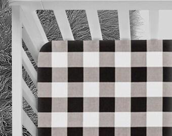 Buffalo Check Crib Sheet, Lumberjack bedding, Baby Crib Sheet, Black and White buffalo check, Baby boy, Baby girl, crib sheet, crib bedding