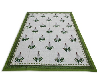 Indian Hand Block Printed Rajasthani Art Work Design Cotton Double Bed sheet in Green Color size 90x108""