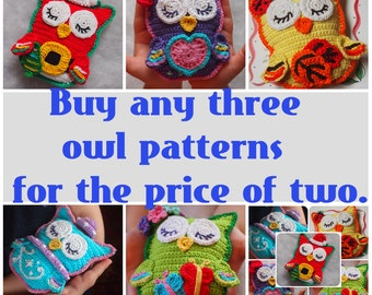 Buy three patterns for the price of two - Scops Owl in Love, Summer Owl, Winter Owl.
