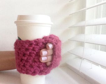 Coffee Cozy | Crochet Coffee Cozy |  Coffee Sleeve - Raspberry