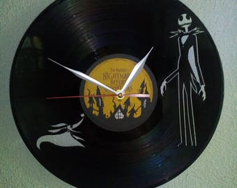 NIGHTMARE BEFORE CHRISTMAS wallclock made of old used vinyl record.