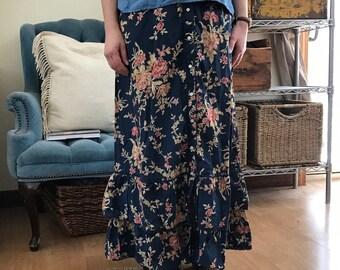 Vintage Ralph Lauren Prairie Skirt / 80s Floral Maxi Skirt / Ruffled 90s Skirt / Long Blue Skirt with Flowers / Women's medium high waist