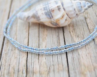 Iridescent aqua anklet ultra dainty bracelets beach anklets seed beads bracelets delicate friendship bracelets boho chic jewelry
