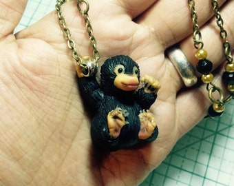 Niffler necklace / Fantastic Beasts and where to find them / Harry Potter necklace / polymer clay necklace / Fimo jewelry