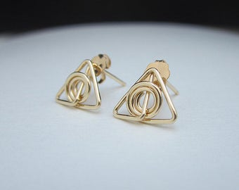 Gold Deathly Hallows Stud Earrings, Gold Harry Potter Jewelry, Gold Triangle Spiral Stud Earrings, Gold Studs, Small Gold Studs