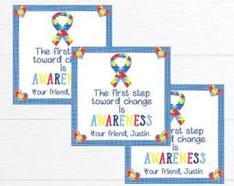Autism Awareness Printable Tag, Autism Printable, Autism Label, Autism Support, Autism Digital Tag, Personalized Autism Tag, Autism Tag