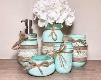 Mint, Mint Green, Mint Decor, Rustic Bathroom Decor, Rustic Bathroom, Country Bathroom Decor, Farmhouse Bathroom Decor, Farmhouse Bathroom