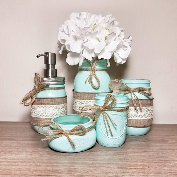 Mason Jar Wedding Ideas: Mint Mint Green Mint Decor Rustic Bathroom Decor Rustic