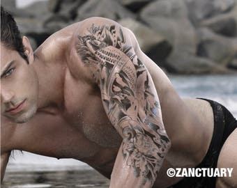 Men Temporary Tattoo Sleeve Japanese Koi Tattoo Japanese Tattoo Koi Temporary Tattoo Koi Fish Tattoo Faux Tatouage Temporaire ZANCTUARY