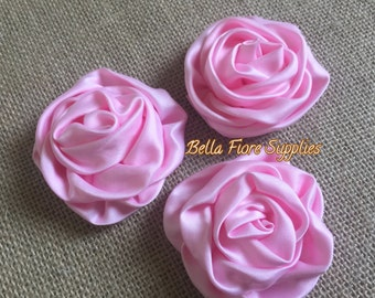 Pink Satin Rolled Rosette Flowers, 3 inch, DIY Headband, Wholesale Satin Rosette Flowers, Satin Flower Embellishment