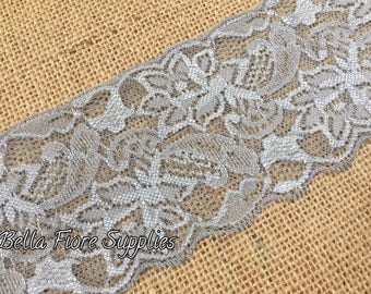 Gray Stretch Lace Trim- 3 Inch- Silver Stretch Lace- Wide Stretch Lace- Wholesale Lace- DIY Headband