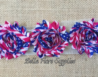 Red White Blue Flag Shabby Chiffon Trim- 4th of July Shabby Flowers- 2.5 inch- 2 1/2 inch- Shabby Chiffon Flowers- Wholesale