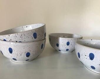 Speckled Ceramic Bowls Set of 4 New - Rustic Speckled Salad or Cereal Bowls