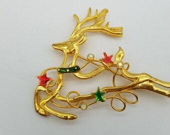 Vintage Gold Tone Reindeer & Stars Brooch Signed TC
