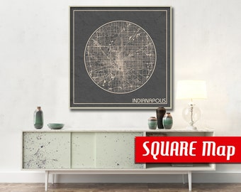 INDIANAPOLIS IN SQUARE Map Indianapolis Indiana Poster City Map Indianapolis Indiana Art Print Indianapolis Indiana poster Indianapolis map