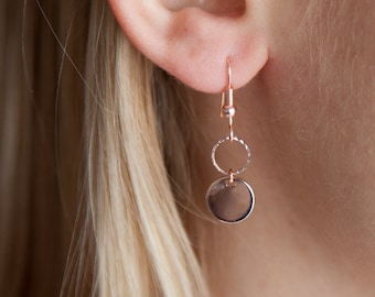 Tiny Rose Gold Drops, Rose Gold Earrings, Tiny Rose Gold Earrings, Rose Gold Jewelry, Minimalist Jewelry, Boho Earrings, Gifts for Her
