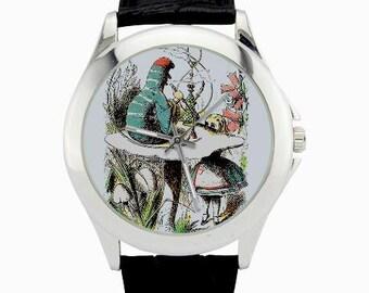 Alice in Wonderland Caterpillar Watch - Alice Adventures Caterpillar Jewelry - Ladies Watch - Alice in Wonderland Art - Girl's Pink Watches
