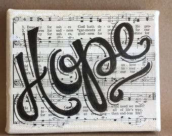 HOPE 4x6 hymnal word art