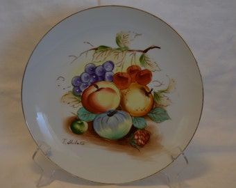 T. Shibata Porcelain Hand Painted Fruit Decorator Plate Made in Japan - Vintage Item #4109