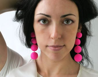 Hot pink earrings Long earrings Statement stud earrings Big lightweight clip on earrings Felt ball dangle earrings Gifts for girlfriend