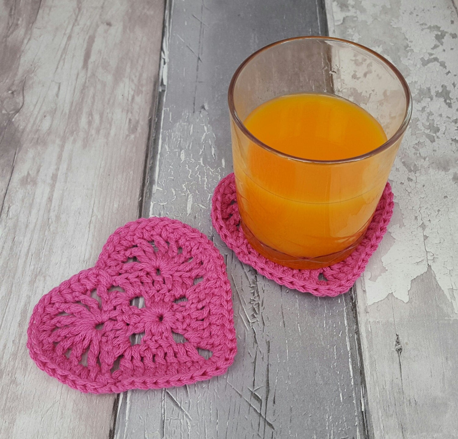 Heart Coasters Crochet Coaster Fun Drinks Mat Cocktail