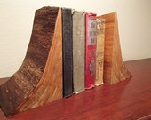 One of a kind live edge natural wood bookends finished with lemon oil and beeswax