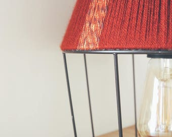 Lampshade / table lamp / Suspension woven by hand in wool.