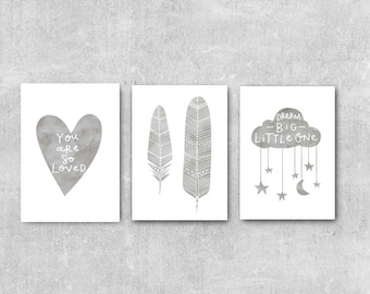 Grey Nursery Wall Art Set Nursery Prints Set of 3 Prints Grey Nursery Decor Set Grey Baby Wall Art Gift For Baby Nursery Neutral Baby Decor