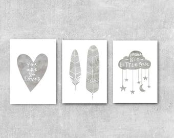 Baby Nursery Art Grey Nursery Wall Art Set Nursery Prints Set of 3 Prints Grey Nursery Decor Set Grey Baby Wall Art Baby Gift Baby Decor