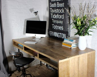 Louise Reclaimed Scaffolding Board and Pipe Industrial Style Desk with Aperture Storage Space below - bespoke design by www.urbangrain.co.uk