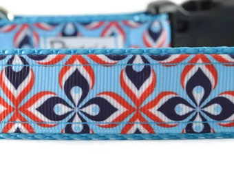 Blue Leash, geometric leash, large dog leash, cool dog leash, red dog leash, floral dog leash, designer leash and collar, diamond leash