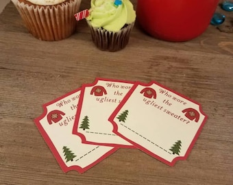 ugly christmas sweater party ballot, ugly sweater decoratons, Ugly sweater ballot, ugly sweater party voting, custom party, holiday decor
