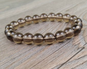 Smoky quartz gemstones bracelet 8 mm