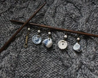 Blue and White China Tea set knitting stitch markers