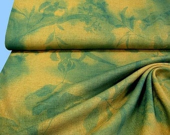 Light golden yellow - green dress fabric